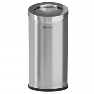 15 Gallon Stainless Steel Round Beveled Open Top Trash Can