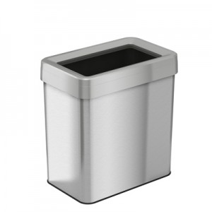 16 Gallon Stainless Steel Rectangular Open Top Trash Can