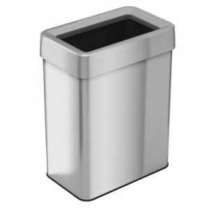 18 Gallon Stainless Steel Rectangular Open Top Trash Can