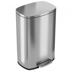 13 Gallon Stainless Steel Soft Step Trash Can with Plastic Liner