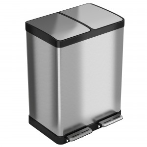 16 Gallon Stainless Steel Combination Recycle and Step Trash Can