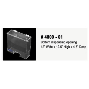 "Acyrlic Dispenser, Bottom Opening, Wall or Table Mount 12.5""x12.5""x4.5"""