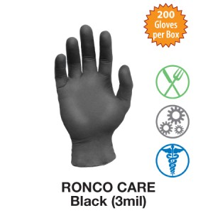 Care, 3 Mil Black Nitrile Examination PF Glove, 200 / Box, 2000 / Case
