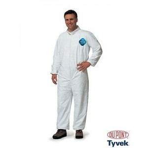Tyvek Coveralls, Collar White, Elastic Sleeves and Ankles, 25/CS