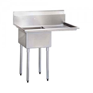 18X18 Center Drain Sinks, Single Compartment, 304 Stainless
