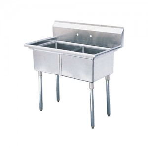 18X18 Center Drain Sinks, Double Compartment, 304 Stainless