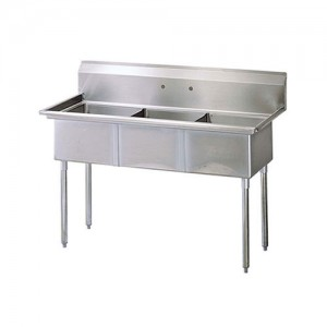 18X18 Center Drain Sinks, Triple Compartment, 304 Stainless