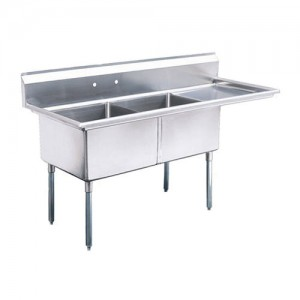 """18 x 18"""" Corner Drain Sinks, Double Compartment, 304 Stainless"""