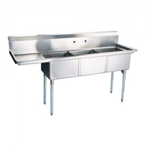 """18 x 18"""" Corner Drain Sinks, Triple Compartment, 304 Stainless"""