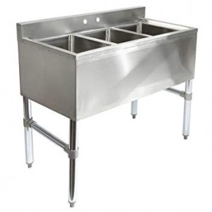 Bar Sinks, Triple Compartment, 304 Stainless Steel