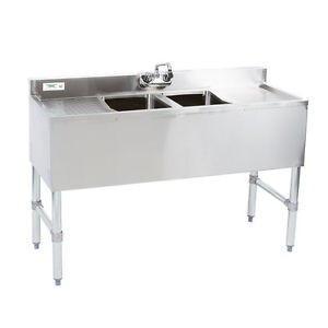 Bar Sinks, Double Compartment, 304 Stainless Steel