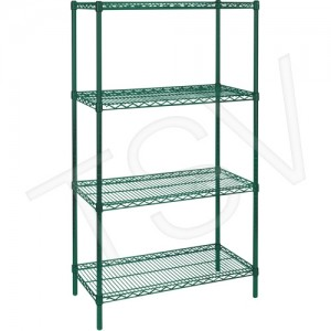 "Green Epoxy Finish Wire Shelving Width: 36"" Depth: 24"" Height: 63"" Kit Type: Starter Shelf Capacity: 800 lbs. Overall Capacity:"