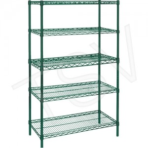 "Green Epoxy Finish Wire Shelving Width: 60"" Depth: 18"" Height: 74"" Kit Type: Starter Shelf Capacity: 600 lbs. Overall Capacity:"