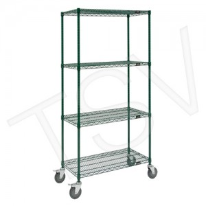 "Green Epoxy Finish Wire Shelf Carts Overall Width: 18"" Overall Height: 74"" Overall Depth: 48"" No. of Shelves: 4 Capacity: 600 lb"
