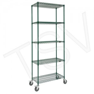 "Green Epoxy Finish Wire Shelf Carts Overall Width: 18"" Overall Height: 86"" Overall Depth: 36"" No. of Shelves: 5 Capacity: 600 lb"