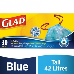 Glad® Tie 'n Toss® Kitchen Catchers Recycling Blue Garbage Bags- Tall