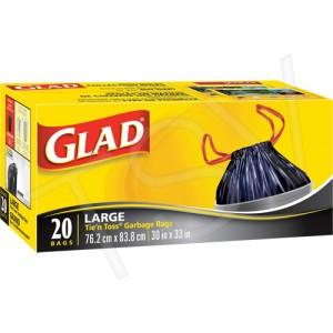 """Glad® Tie'n Toss® Garbage Bags, 30"""" x 32"""" Black"""