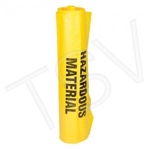 "Yellow Hazardous Waste Bags, 60"" x 36"", 6 Mil"