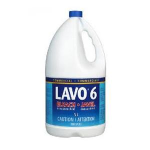 Lavo 6, Commercial Bleach, Sodium Hypochlorite, 5L x 3 Jugs / Case