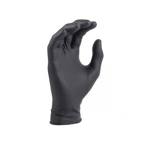 "Heavyweight Black Nitrile Gloves, 8 Mil, 9.5"" Long, 100 Per Box"