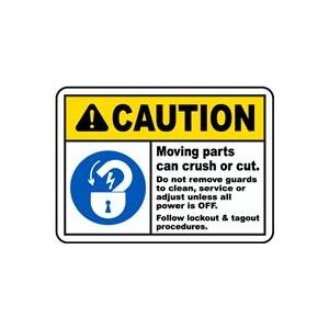 """Sign Label, """"Caution Moving Parts"""" 5.5""""X2.5"""", 5/Pkg"""