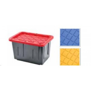 "28"" x 15"" x 19"" 27 Gallon Blue Lid Tote"