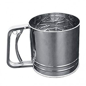 "Rotary Flour Sifter, 5 Cups, Heavy Duty 18-8 Stainless Steel, 5-1/4"" Diameter, 5"""