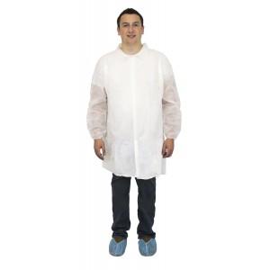 30 Gram Labcoats, Elastic Wrists, Collar, 4 Snaps, No Pockets, 30 Per Case