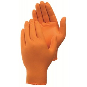 Orange Nitrile Gloves, PF, 4 Mil, 100 Per Box, 10 Boxes Per Case