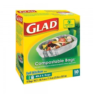 GLAD COMPOSTABLE BAGS TALL KC  10 CTX12