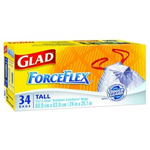GLAD FORCEFLEX TALL DRAWSTRING 50L KITCHEN CATCHERS 34CTX6
