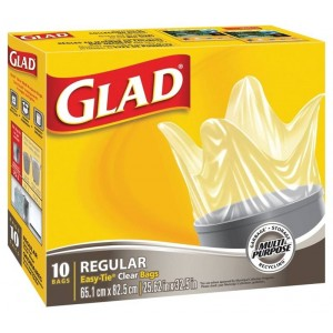 GLAD EASY TIE CLEAR BAGS  10 CTX24