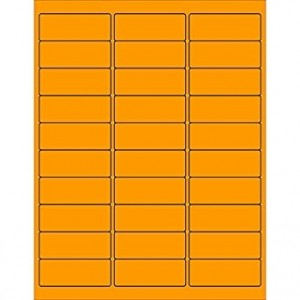 "Laser Labels, Fluorescent Orange, 2-5/8X1"", 3000 Labels/Box"