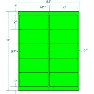 "Laser Labels, Fluorescent Green 4 X2"" 1000/Box"