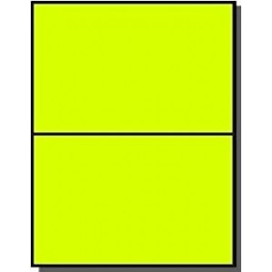 "Laser Label, Fluorescent Yellow, 8.5 X 5"" 200/Box"