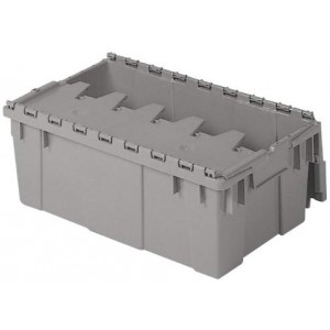 Buckhorn Attached Lid Flip Top Storage and Distribution Plastic Tote, 20-Inch x 12-Inch x 7-Inch, Grey