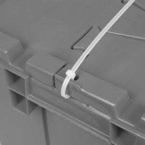 "Buckhorn Industrial Grade Plastic Attached Lid Flip TOP 8 gallon Container Tote - 21"" x 15"" x 9"" - Lt Grey,"