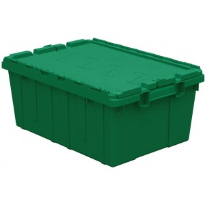 """Buckhorn Attached Lid Flip Top Storage and Distribution Plastic Tote, 21"""" x 15"""" x 9"""", Green"""