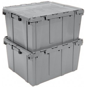 "Buckhorn Industrial Grade Plastic Attached Lid 27 Gallon Container Tote - 28"" x 21"" x 15"" - Grey"