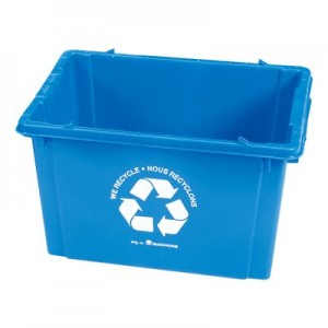 """RECYCLE CONTAINER, 075-611, BLUE, WITH RECYCLE LOGO & DRAIN HOLES, 20 3/4"""" X 15"""" X 12"""", (1.45 CU FT) 30 LB CAP"""