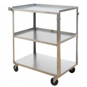 """Stainless Steel Shelf Carts No. of Shelves: 3 Overall Width: 17-5/8"""" Overall Height: 33"""" Overall Depth: 27-1/8"""""""