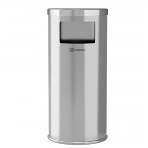 9 Gallon Stainless Steel Half-Round Side-Entry Trash Can