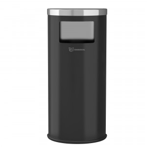 9 Gal Black Powder-Coated Steel Half-Round Side-Entry Trash Can