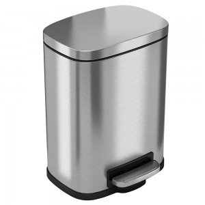 1.5 Gallon Stainless Steel Soft Step Trash Can with Plastic Liner