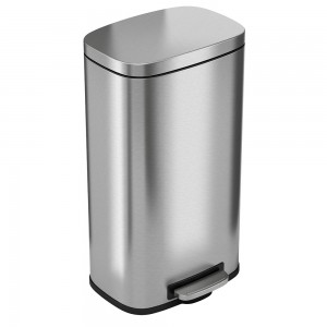 8 Gallon Stainless Steel Soft Step Trash Can with Plastic Liner