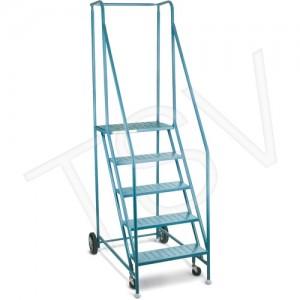 Rolling Ladder 5 Step w/ Handrails CSA Blue, 300 lbs.Cap., Steel,