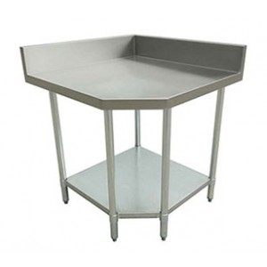 "Stainless Steel Work Table, Corner with Backsplash, 24"" X 24"" x 35"""