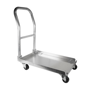 """Aluminum dish rack dolly with handle, 20"""" X 20"""""""