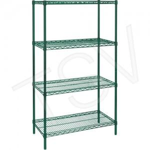 "Green Epoxy Finish Wire Shelving Width: 72"" Depth: 18"" Height: 63 Kit Type: Starter Shelf Capacity: 800 lbs. Overall Capacity: 2"