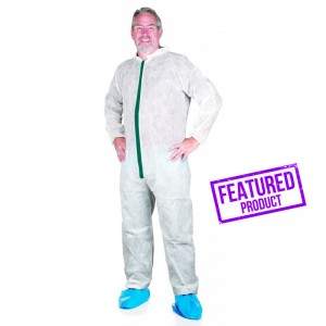 Greenline, Light-Weight Coverall, Collar, Elastic Sleeves, Ankles, Individually Bagged, 50 Coveralls Per Case